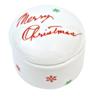 """Merry Christmas"" Porcelain Ring Box"