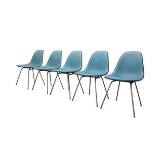 Blue Fiberglass Eames Chairs - Set of 5