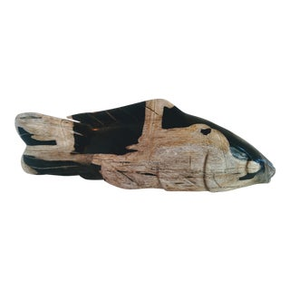 Large Hand-Carved Petrified Wood Koi Fish Sculpture