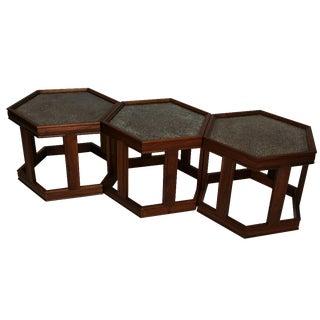 Brown Saltman Vintage Hexagonal Tables - Set of 3