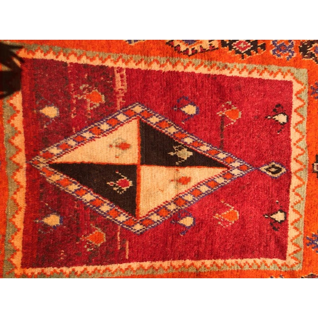 "A Very Old Fine and Rare Vintage Orange Moroccan Azilal Rug - 4'2"" X 10' - Image 4 of 5"