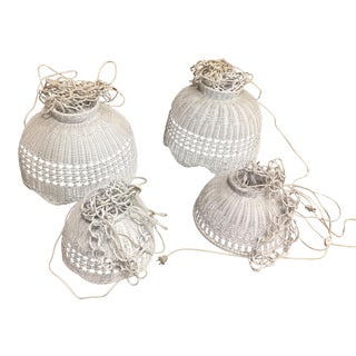 Vintage White Wicker Hanging Lamps - Set of 4