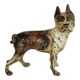 Vintage Cast Iron Boston Terrier Doorstep Figurine