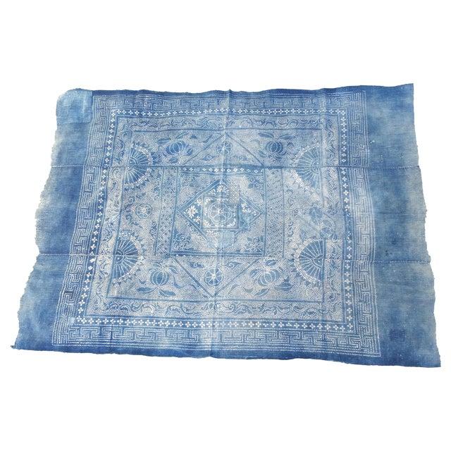 Antique 1930s Softly Faded Blue Batik Textile - Image 1 of 5