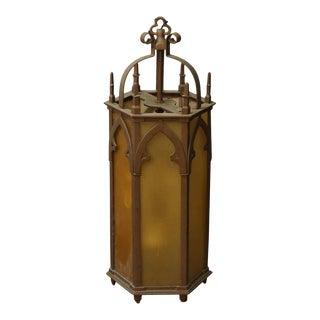 Large Brass Gothic Amber Textured Glass Lantern