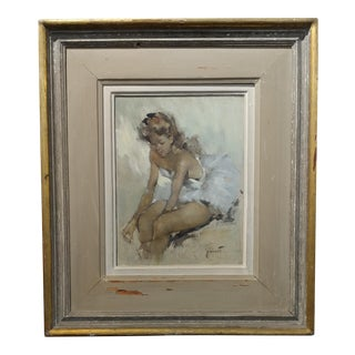 "Pierre Grisot ""Seated Ballerina"" Original Oil Painting"