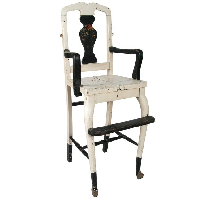 Image of Vintage Painted Wood High Chair
