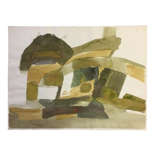 1970s Thelma Corbin Moody Abstract Green House Painting