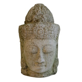 Early Mid-20th Century Stone Head of Buddha
