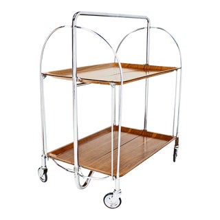 Mid-Century Modern Folding Tea Cart in Chrome and Molded Plywood