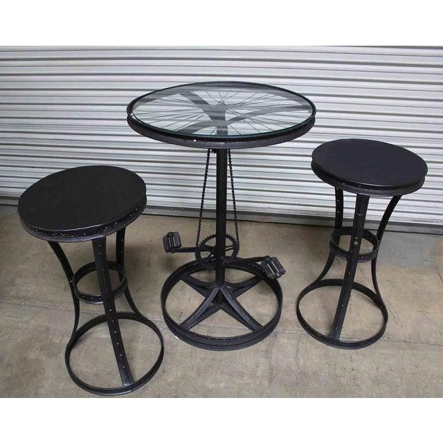 Image of Glass Top Metal Bicycle Bar with Stools Set