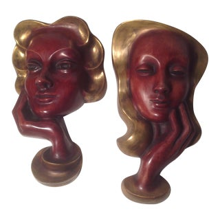 Masks by Hans Schirmer Achatit-Werkstätten - Pair