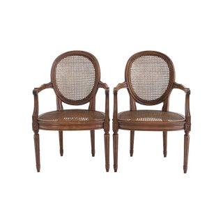 French Cane Arm Chairs - A Pair