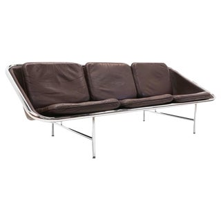 Chocolate Brown Leather George Nelson Three-Seat Sling Sofa for Herman Miller