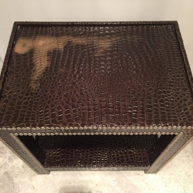 Crocodile-Embossed Leather Side Table - Image 9 of 10
