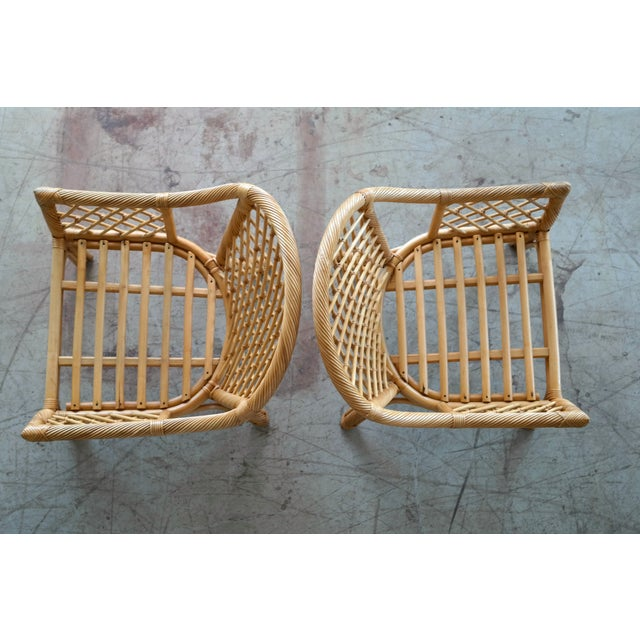 Mid Century Modern Danish Rattan Armchairs - a Pair - Image 7 of 11