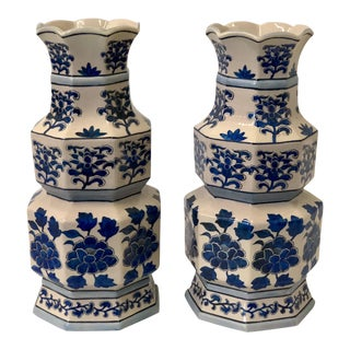 Blue & White Double Gourd Chinoiserie Vases - A Pair