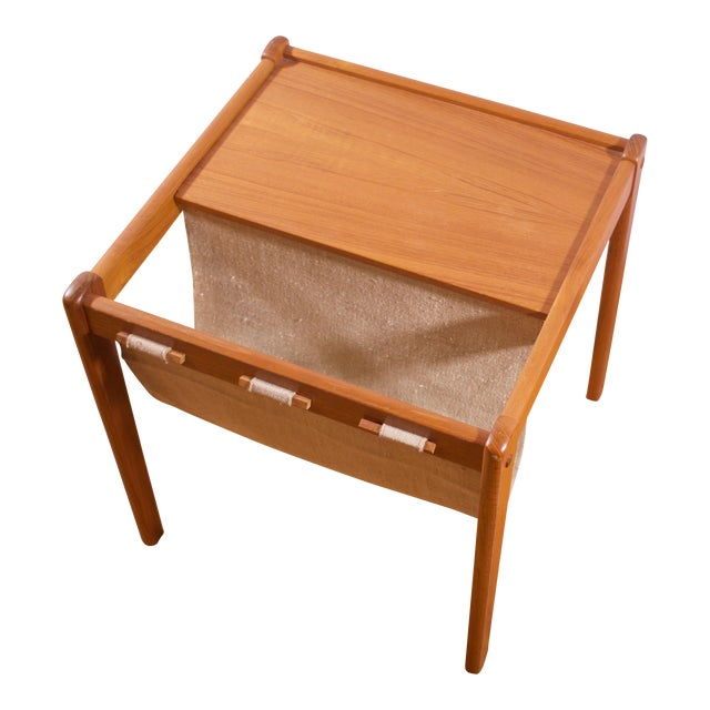 Mid-Century Furbo Danish Teak Side Table With Magazine Holder - Image 1 of 10