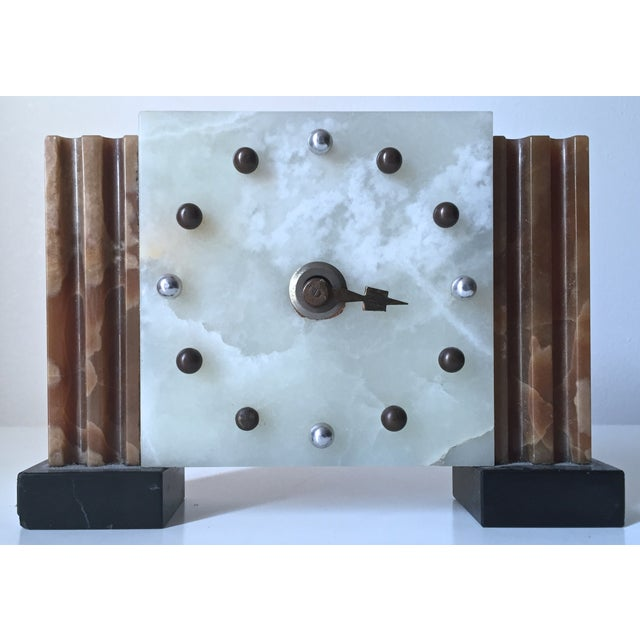 Antique French Art Deco Onyx Clock - Image 2 of 6