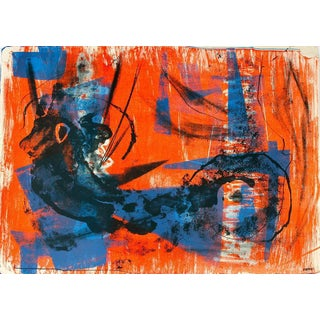 Jerry Opper Abstract Expressionism in Blue and Orange