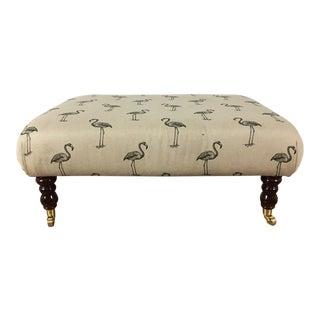 Flamingo Motif Upholstered Ottoman