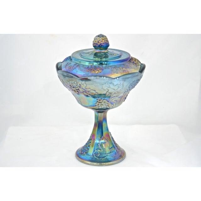 Peacock Blue Pedestal Bowl - Image 2 of 4