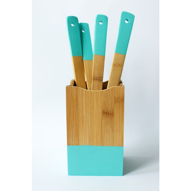 Teal Utensil Set and Holder - Image 2 of 5