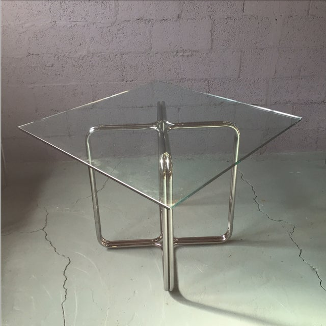 Crome & Glass Cantilever Dining Set - Image 4 of 11