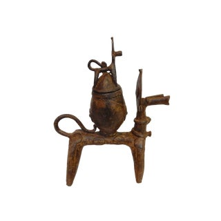 African Cremonial Dogon Bronze Horse w/ Pot