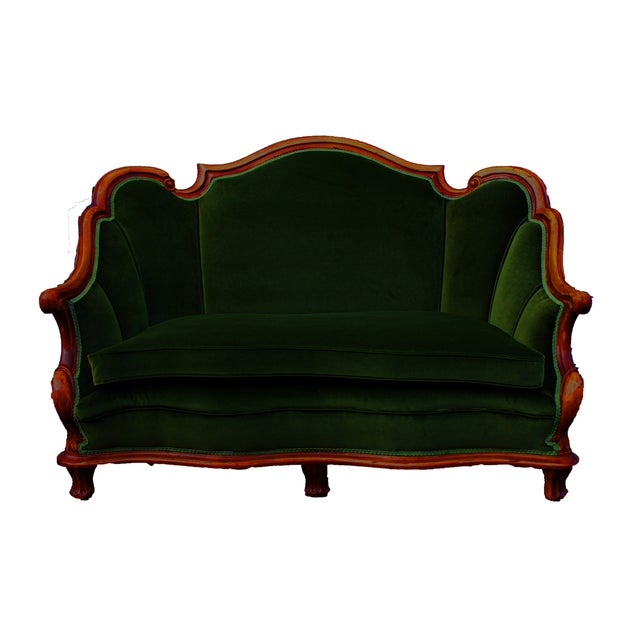 Image of Dark Hunter Green Velvet Settee