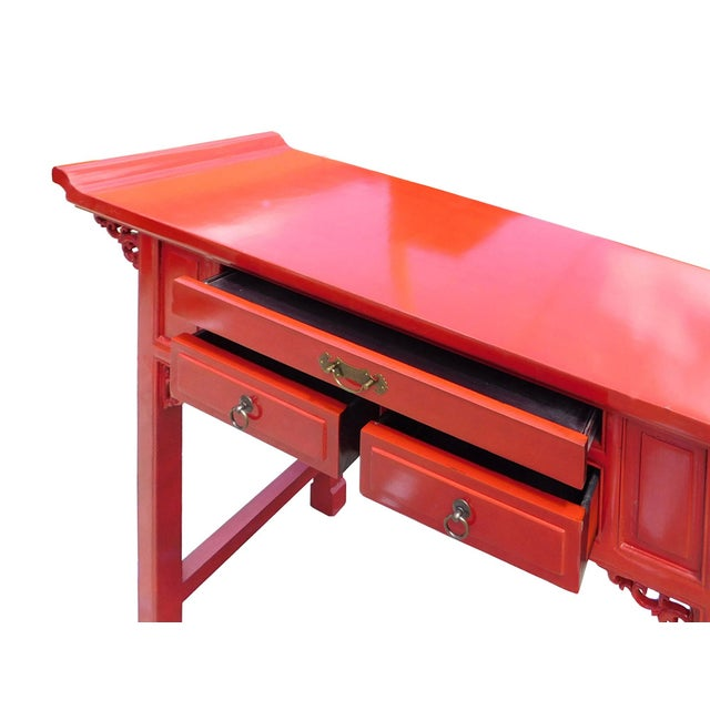 Chinese Red Lacquer Altar Console Table - Image 5 of 7