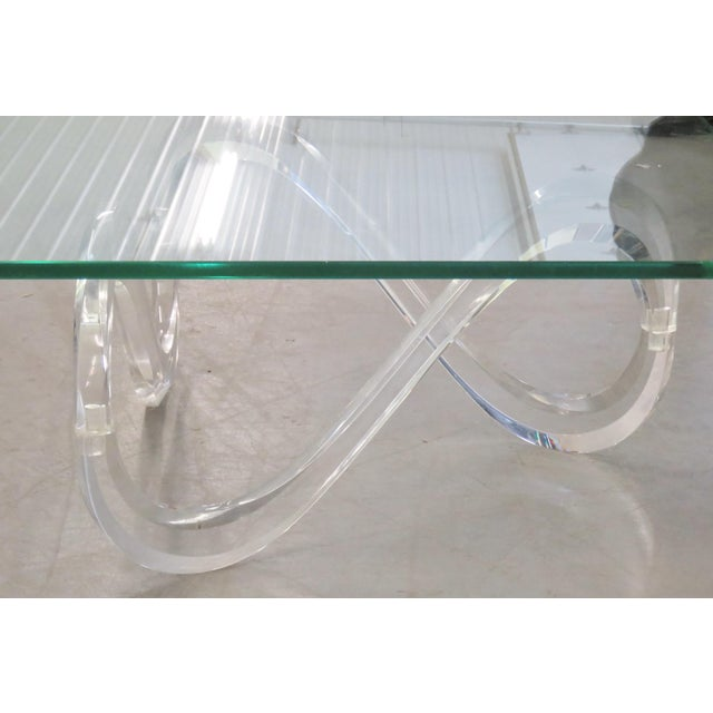 Modernist Glass Top & Lucite Base Coffee Table - Image 4 of 5