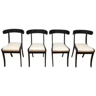 1930s Vintage Ebonized Klismo Chairs - Set of 4