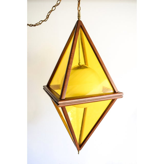 Mid-Century Teak & Yellow Pendant Light - Image 5 of 11