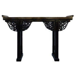 Chinese Black Lacquer Dragon Motif Apron Altar Console Table