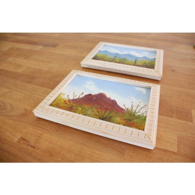 Framed Vintage Desert Paintings - Pair - Image 4 of 4