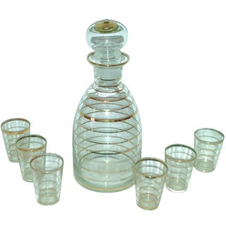 7-Piece Gold Stripe Decanter & Glasses