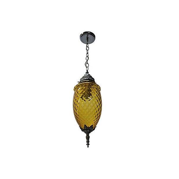Amber Glass Pendant Lamp - Image 5 of 7