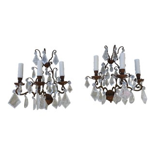 French Bronze Rock Crystal Sconces - A Pair