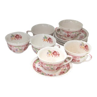 Johnson Brothers Winchester Pink Transfer Ware Cups & Saucers - Set of 13