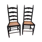 Image of Rustic Ladder Back Cane Chairs - A Pair