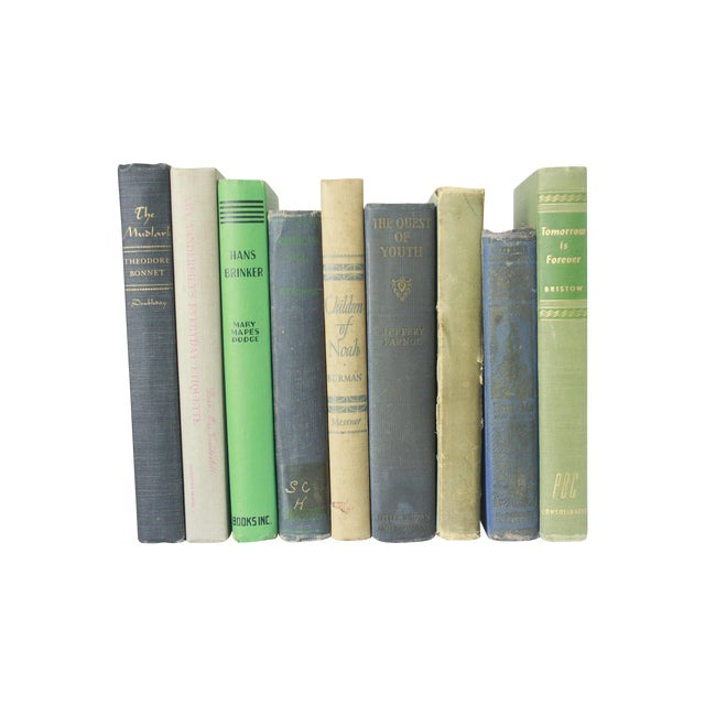 Vintage Decorative Green and Blue Books - Set of 9 - Image 1 of 11