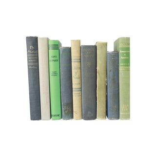 Vintage Decorative Green and Blue Books - Set of 9