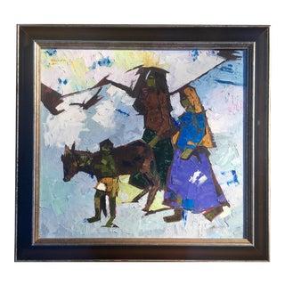 Ezra Talkar Mid-Century Brutalist Cubist Painting Signed 1972