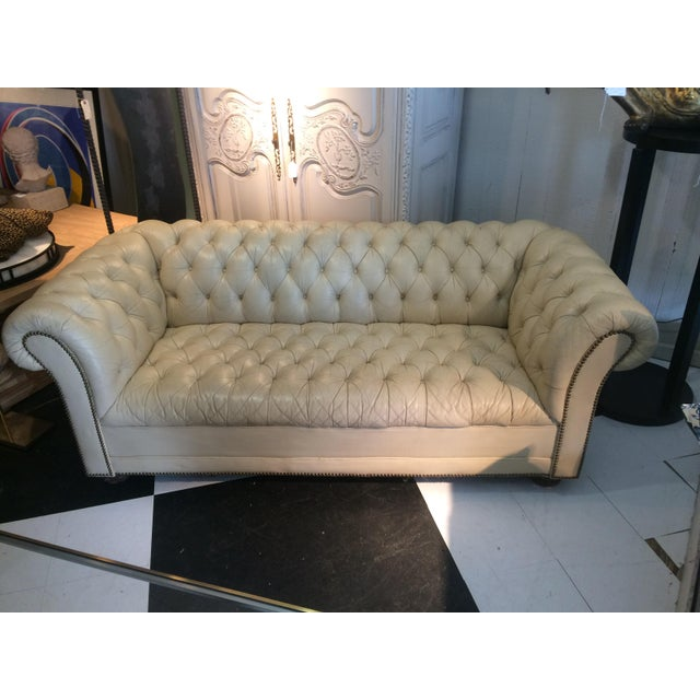 vintage cream leather chesterfield sofa chairish. Black Bedroom Furniture Sets. Home Design Ideas