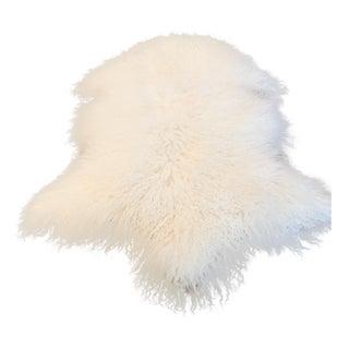 Genuine White Mongolian Lamb Fur Throw