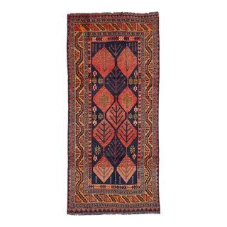 """SHIRAZ QASHQAI Vintage Persian Rug, 4'2"""" x 9'5"""" feet"""