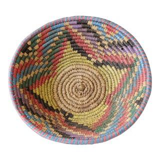 Vintage Multicolor Round Woven Coil Basket