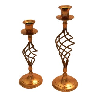 Gold Spiral Base Candle Holders
