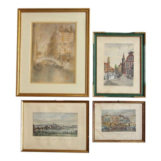 Framed European Prints - Set of 4